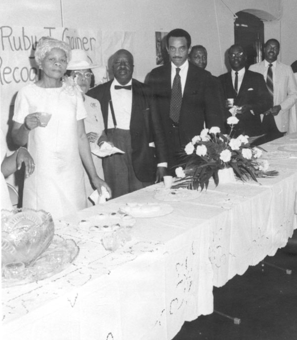 Trailblazing teacher Ruby Jackson Gainer (far left) with her brother, Emory O. Jackson (third from left), himself a former teacher and editor of the influential Birmingham World newspaper. (Courtesy of the Birmingham, Ala., Public Library Archives)