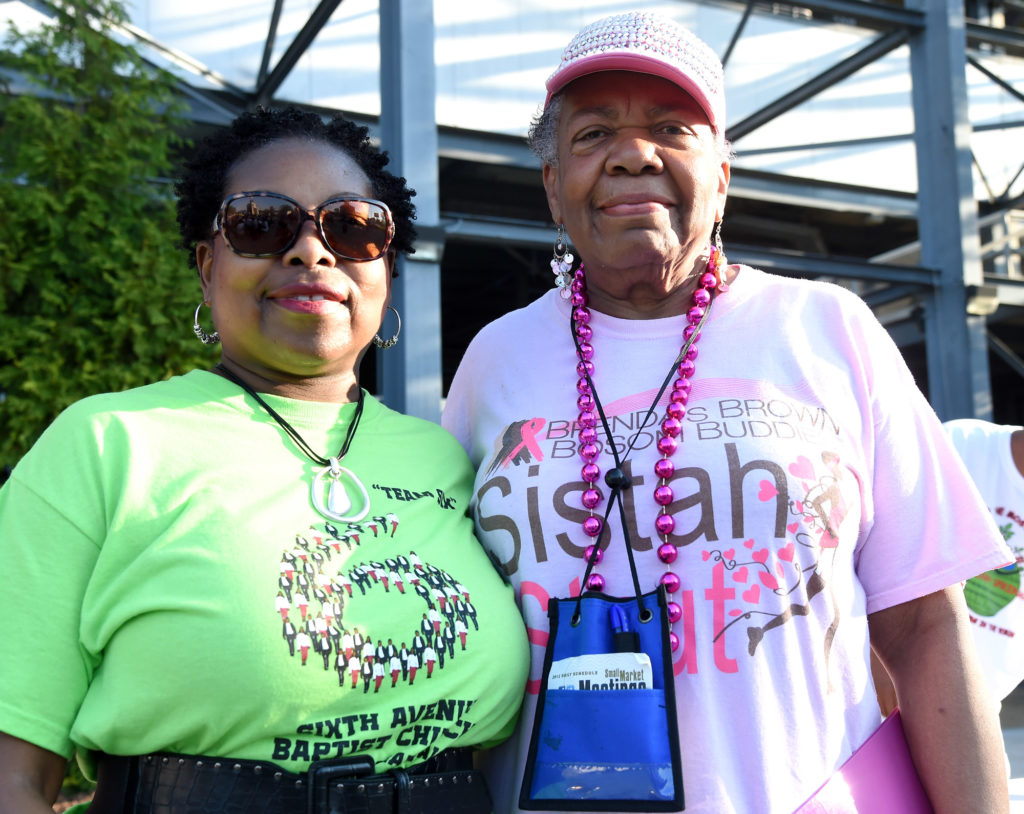 Event organizers Vevelyn Wilson (left) and Brenda J. Phillips Hong pose during the Brenda's Brown Bosom Buddies Fifth Annual Sistah Strut at Legion Field. (Mark Almond, The Birmingham Times)