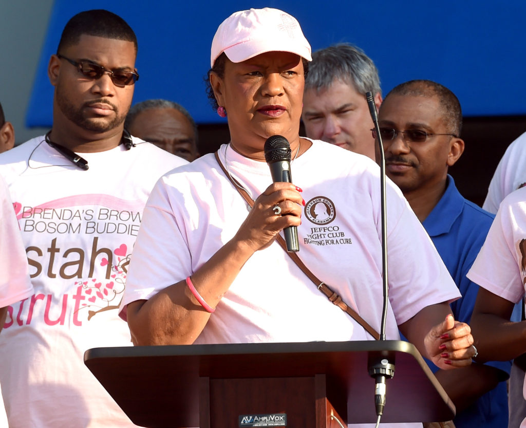 Jefferson County Commissioner Sandra Little Brown, a cancer survivor, speaks during the Brenda's Brown Bosom Buddies Fifth Annual Sistah Strut at Legion Field. (Mark Almond, The Birmingham Times)