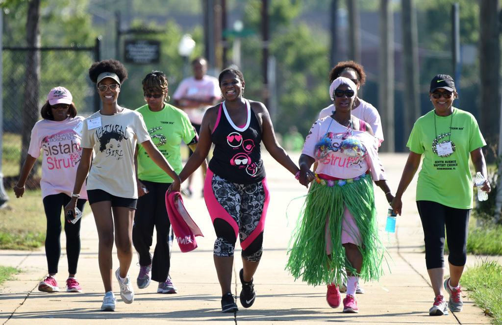 Participants walk during the Brenda's Brown Bosom Buddies Fifth Annual Sistah Strut at Legion Field (Mark Almond, The Birmingham Times)