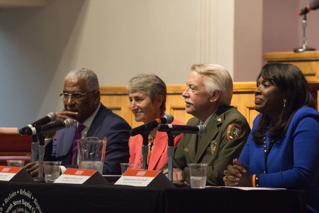 (From left) Mayor Bell, U.S. Secretary of the Interior Sally Jewell, National Parks Director Jonathan B. Jarvis and U.S. Congresswoman Terri Sewell hear the public's opinions on a national park designation in Birmingham. (Reginald Allen, for The Birmingham Times)