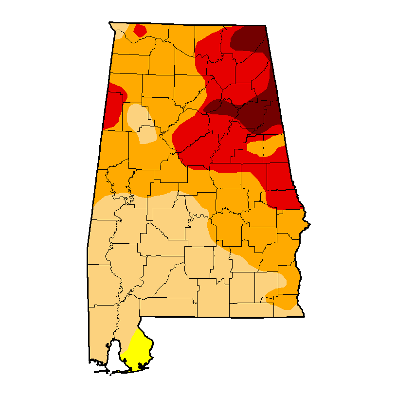 Birmingham and surrounding areas are under an advanced drought advisory. (U.S. Drought Monitor)