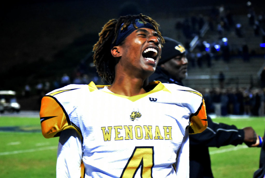 Will Moore releases a jubilant yell after his Wenonah Dragons defeated Briarwood Christian 14-8 on Friday, Nov. 25, 2016, in the Class 5A Alabama High School Athletic Association playoffs. Wenonah joins Ramsay as two Birmingham City Schools to reach football playoff title games in the same post season. (Solomon Crenshaw, special to The Birmingham Times)