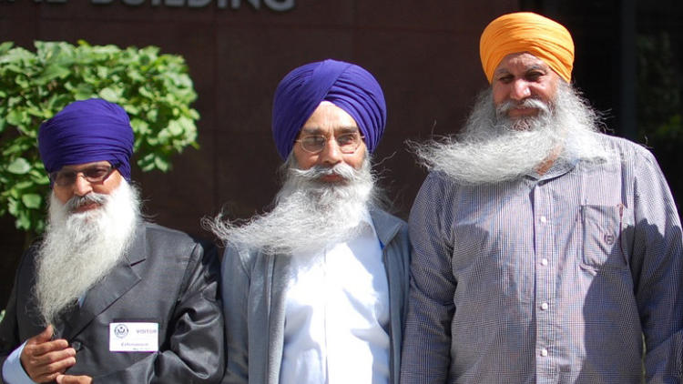 From left: Lakhbir Singh, Palwinder Singh and Jagtar Singh Anandpuri. They are three of the four truck drivers who complained about religious discrimination at the J.B. Hunt trucking company. (The Sikh Coalition, the Associated Press)