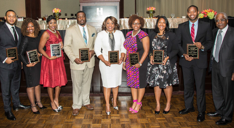 Scholarship recipients (from left) Michael T. Bell, Jaidrea Fried, Starr Culpepper, Brandon Price, Merika Coleman, Carla Crawford, Neena Speer, Rodney Patrick and retired Justice, and MCBA president Ralph Cook. (Provided photo)