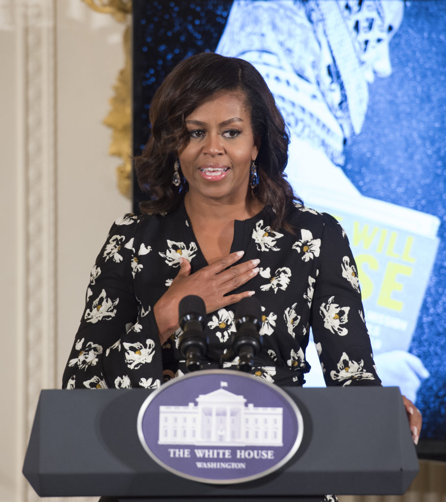 "First Lady Michelle Obama speaks while hosting a special screening of the new CNN Film ""We Will Rise: Michelle Obama's Mission to Educate Girls Around the World,"" Oct. 11 at the White House. (Molly Riley, Associated Press)"