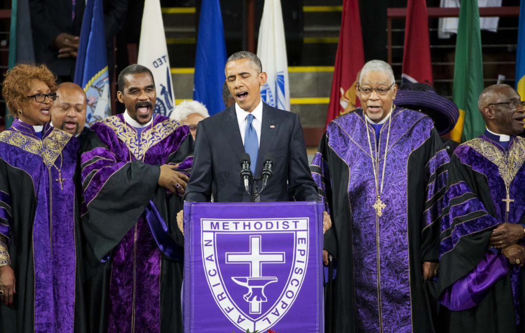 In June 2015 President Obama traveled to Charleston, S.C. to mourn the nine victims gunned down during Bible study at the historic Emanuel African Methodist Episcopal Church. (David Goldman, Associated Press)