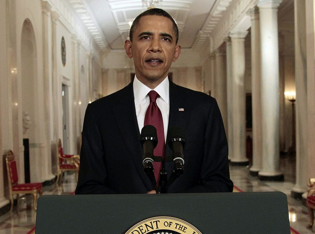 President Barack Obama reads his statement to photographers after making a televised statement on the death of Osama bin Laden May 2011 from the East Room of the White House in Washington, D.C (Pablo Martinez Monsivais, Associated Press)