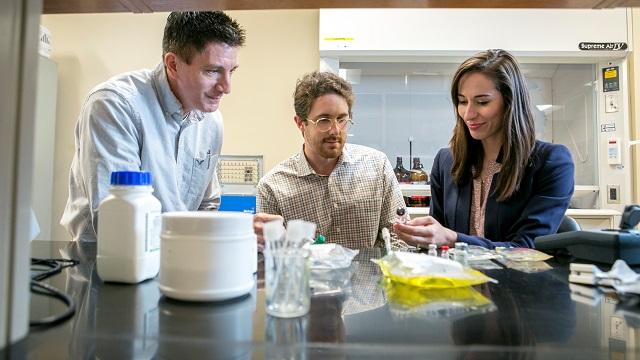 Samford University McWhorter School of Pharmacy faculty member Greg Gorman, left, worked with students Logan Joiner and Rachel Miller on the pediatric research. (Caroline Summers, Samford University)
