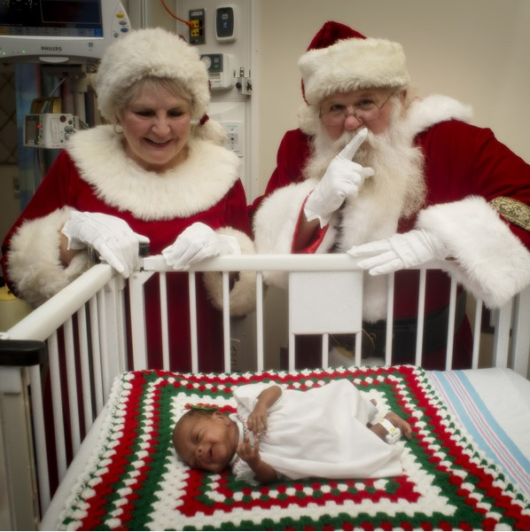 Santa and Mrs. Claus visit babies and their families at UAB's Regional Neonatal Intensive Care Unit and Continuing Care Nursery. (Provided photo)