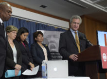 Richard Cohen, president of the Southern Poverty Law Center, right, speaks during a news conference at the National Press Club in Washington, Tuesday. Cohen, along with, from left, Wade Henderson, President and CEO of The Leadership Conference on Civil and Human Rights, American Federation of Teachers President Randi Weingarten, Brenda Abdelall, with Muslim Advocates, and Janet Murguia, the President and CEO of the National Council of La Raza, called on President-elect Donald Trump to publicly denounce racism and bigotry. (Susan Walsh, Associated Press)