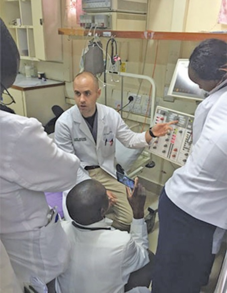 UAB's Scott Irvine teaches advanced critical care techniques to residents and interns at Tenwek Hospital in Kenya. (UAB photo)
