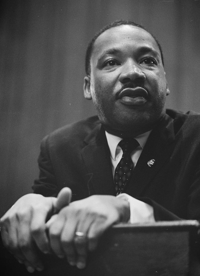 The Rev. Martin Luther King Jr. is seen at a press conference in March 1964. (Wikimedia Commons)