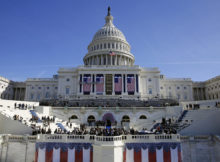 In this Jan. 15, 2016, photo, the U.S. Capitol frames the backdrop over the stage during a rehearsal of President-elect Donald Trump's swearing-in ceremony in Washington. Some two dozen House Democrats plan to boycott Trump's inauguration on Friday, casting the Republican businessman as a threat to democracy. (AP Photo/Patrick Semansky)