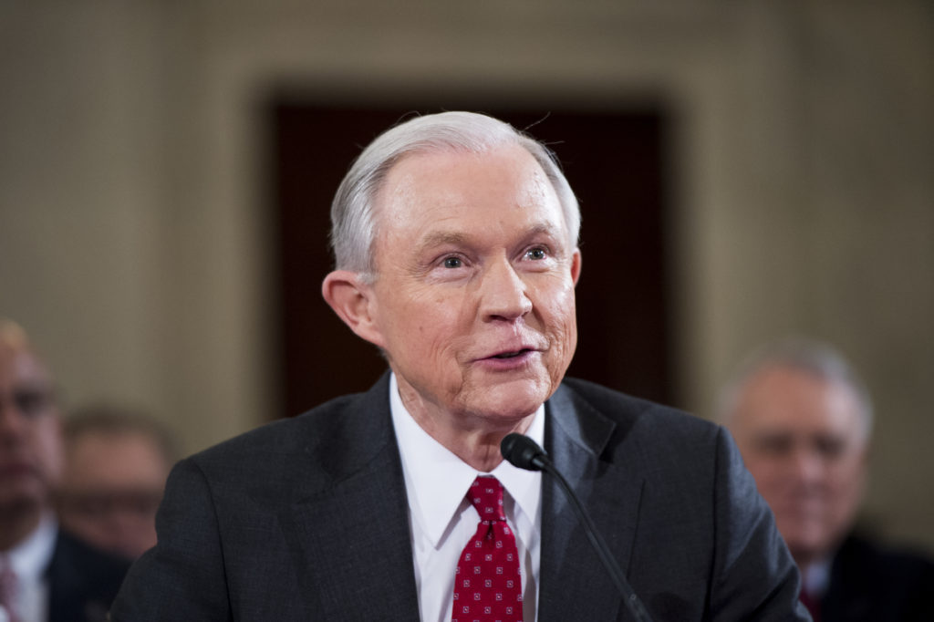 Sen. Jeff Sessions, R-Ala., testifies during the Senate Judiciary Committee hearing on his confirmation hearing to be Attorney General in the Trump administration on Tuesday, Jan. 10, 2017. (Photo By Bill Clark/CQ Roll Call) (CQ Roll Call via AP Images)