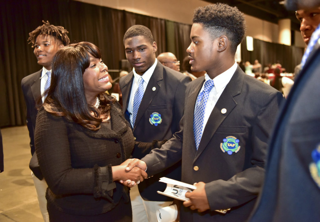Congresswoman Terri Sewell visits with constituents at the Dr. Martin Luther King Jr. Unity Breakfast held January 15 at the Birmingham-Jefferson Civic Complex (Frank Couch, The Birmingham Times)