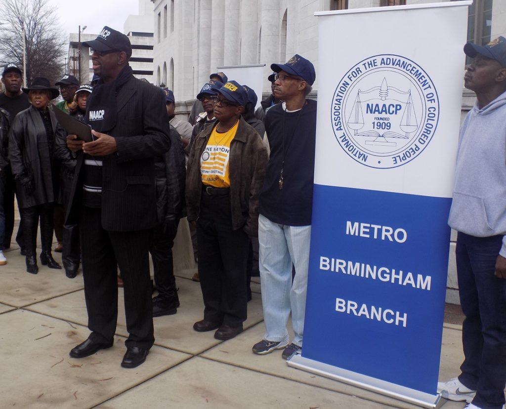 "Hezekiah Jackson IV, Metro Birmingham NAACP President (center), believes civil and voting rights discussions under Alabama Sen. Jeff Sessions as U.S. Attorney General would be ""regressive."" (Monique Jones, The Birmingham Times)"