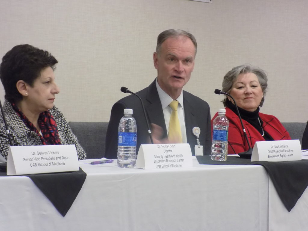 (From left) Dr. Mona Fouad, Dr. Mark Williams, and Suzanne Respess express the importance of the Affordable Care Act (Monique Jones, The Birmingham Times)