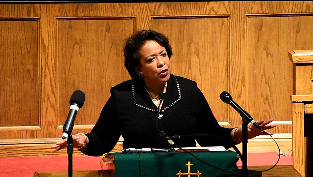 United States Attorney General Loretta Lynch was the featured speaker at a Martin Luther King Jr. commemoration program at the church made famous by the bombing that killed four little girls. (Provided photo)