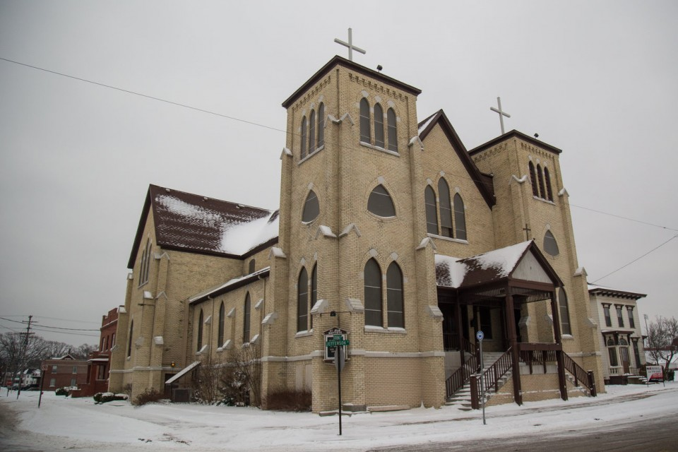 St. Jean Baptiste Catholic Church in Muskegon, Mich. The 133-year-old church sold to Marvin Sapp. (Shannon Millard, MLive/The Associated Press)