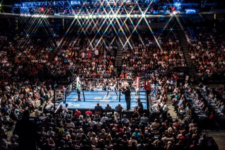 Deontay Wilder (white trunks) defeated Chris Arreloa (black trunks) after eight rounds with a technical knockout. The fight was nationally televised and drew thousands to the BJCC. (Nik Layman, Alabama NewsCenter)