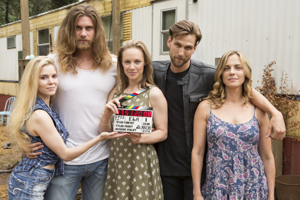 """Too Close to Home"" stars Brooke Anne Smith (Shelby), Brock O'Hurn (Brody), Danielle Savre (Anna), Brad Benedict (J.B.) and Kelly Sullivan (Bonnie). Tyler Perry, who created the show, is facing backlash for the mostly white starring cast. (TLC photo)"