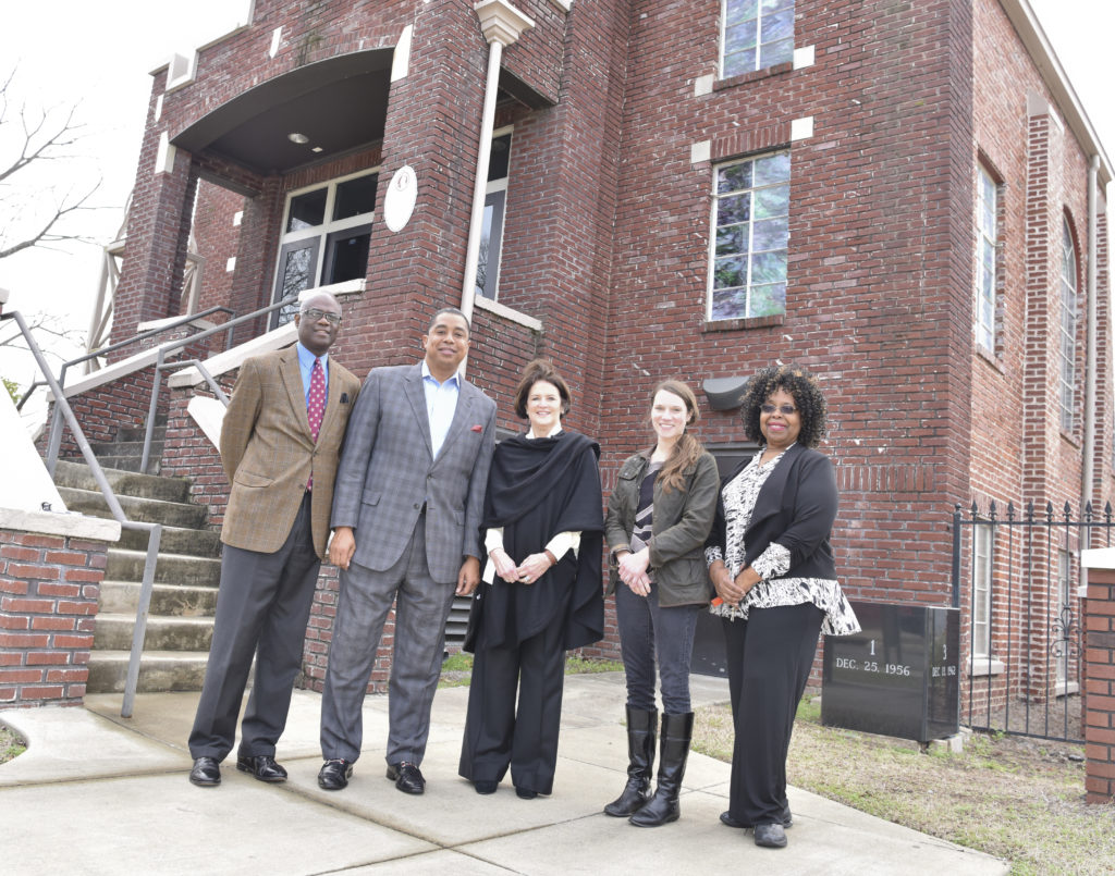 Pastor Thomas Wilder, Councilman Jay Roberson, Ann Florie, Susan Shields and Dr. Martha Bouyer meet in front of the church. (Frank Couch, The Birmingham Times)