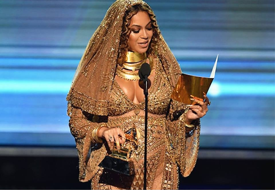Beyoncé accepting her Grammy for Best Urban Contemporary Album (Grammys/Facebook)