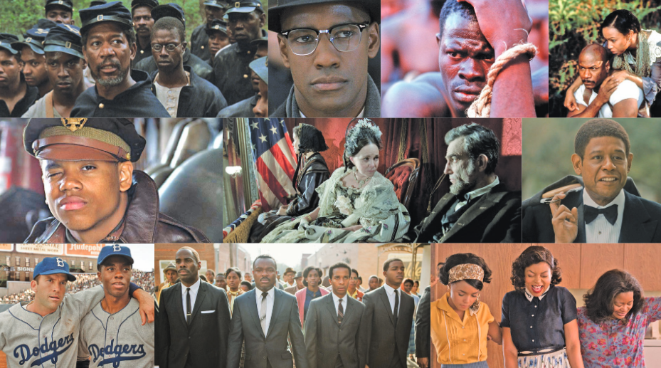 'Glory' (TriStar Pictures), 'Malcolm X' (Warner Bros.), 'Amistad' (Dreamworks Pictures), 'Rosewood' (Warner Bros.), 'Red Tails' (20th Century Fox), 'Lincoln' (Dreamworks Pictures), 'Lee Daniels' The Butler' (The Weinstein Company), '42' (Warner Bros.) 'Selma' (Paramount Pictures), 'Hidden Figures' (Fox Movies)
