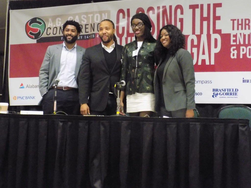 (From left) Anthony Hood, Ph.D, Assistant Professor of Strategy and Entrepreneurship at UAB's Collat School of Business, Deontée Gordon, Director of Business Growth at REV Birmingham, Maacah Davis, Founding Publisher, Creative Director and Editor-in-Chief of belladonna magazine andMarsha Morgan, Co-Founder and former chairperson of the Birmingham Change Fund. The panelists at the A.G. Gaston conference discussed how millennials are shaping the renaissance in Birmingham. (Monique Jones, The Birmingham Times)