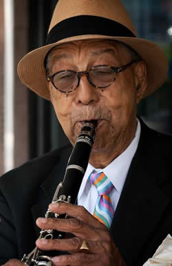Frank Adams Sr. was an accomplished jazz musician, specializing in the clarinet and alto sax.