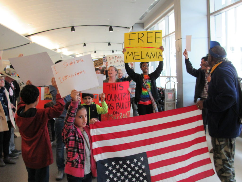 Protesters gathered Jan. 29 at the Birmingham-Shuttlesworth International Airport to oppose President Trump's immigration ban. (Frank Couch, special to The Times)