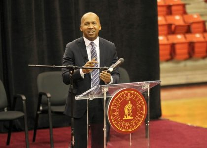 Bryan Stevenson spoke at Tuskegee University on Jan. 31. (Photo by Chris Renegar, Tuskegee University)
