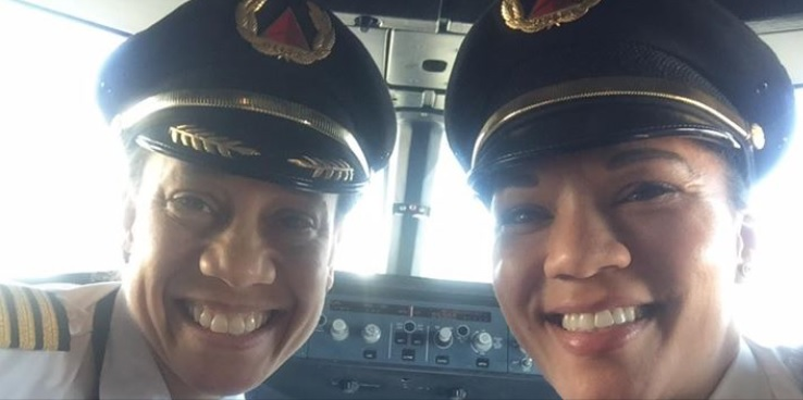 Capt. Stephanie Johnson, Delta's first African-American female captain (left), and First Officer Dawn Cook manned Delta's first all-black female cockpit on a flight from Detroit to Las Vegas. (Delta Airlines)