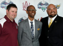 Promoter Prentiss Hill is flanked by Alabama A&M baseball coach Mitch Hill, left, and Alabama State baseball coach José Vazquez. Their teams will meet in the third Magic City Diamond Classic. This year's game is at Regions Field. (Solomon Crenshaw Jr., for The Birmingham Times)