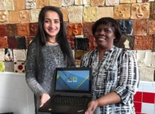 Amrita Lakhanpal, a sophomore at Altamont School, poses with Maime Lewis, director of the after school program at EPIC Elementary School (Chanda Temple, Birmingham City Schools)