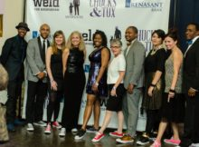 Attendees gather at the first Chucks & Tux fundraising gala in April 2016. Below, art from winners of a student shoe design contest. (Provided photo)