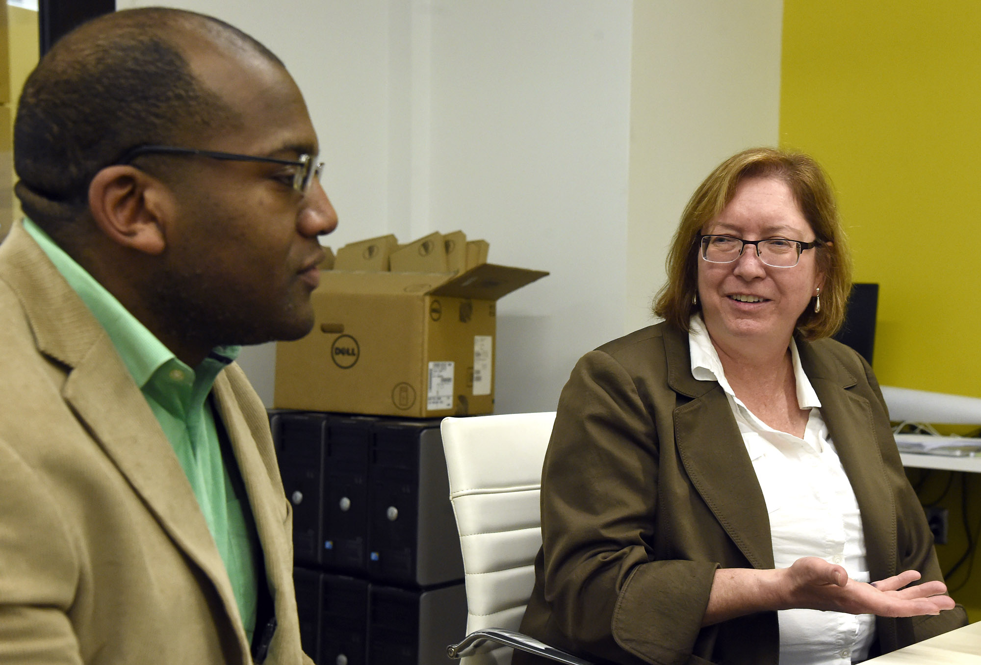 Instructors Wayne Heard and Shirley Hicks discuss a partnership program to help students earn CompTIA A+ certification needed for entry-level jobs in the IT field at the Innovation Depot in Birmingham, Ala., Friday, Feb. 17, 2017. (Mark Almond, for The Birmingham Times)
