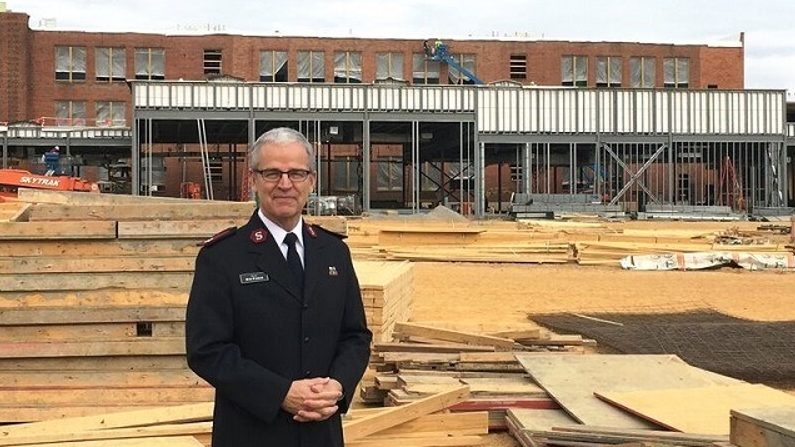Salvation Army of Birmingham Maj. Bob Parker at the agency's new 4-acre campus under construction off Finley Avenue. (Contributed photo)