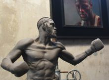 Deontay Wilder is depicted in this miniature statue as he is about to deliver the knockout blow in his most recent bout against Gerald Washington. (Solomon Crenshaw Jr., Alabama NewsCenter)
