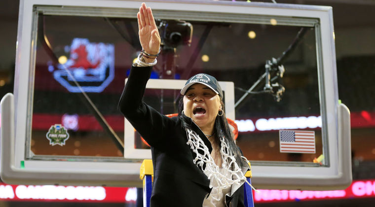 Dawn Staley was the second African-American women's college basketball coach to cut down the championship nets. (Provided photo)