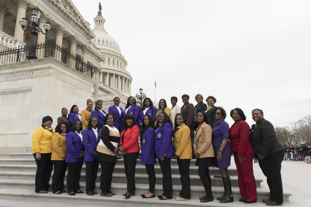 Students with City Councilwoman Sheila Tyson and State Rep. Terri Sewell. (Provided photo)