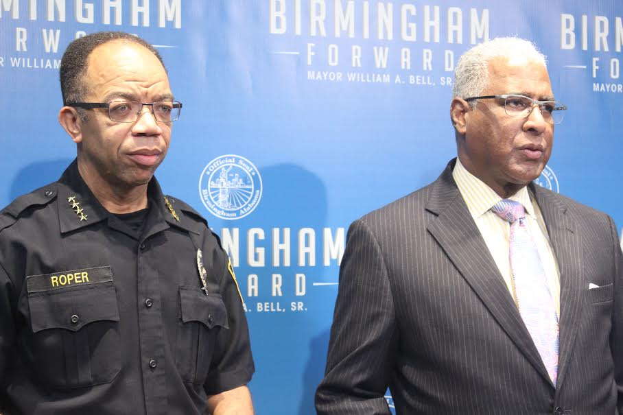 Police Chief A.C. Roper and Mayor William Bell announce a month-long operation in efforts to decrease violence in the city. (Ariel Worthy, The Birmingham Times)