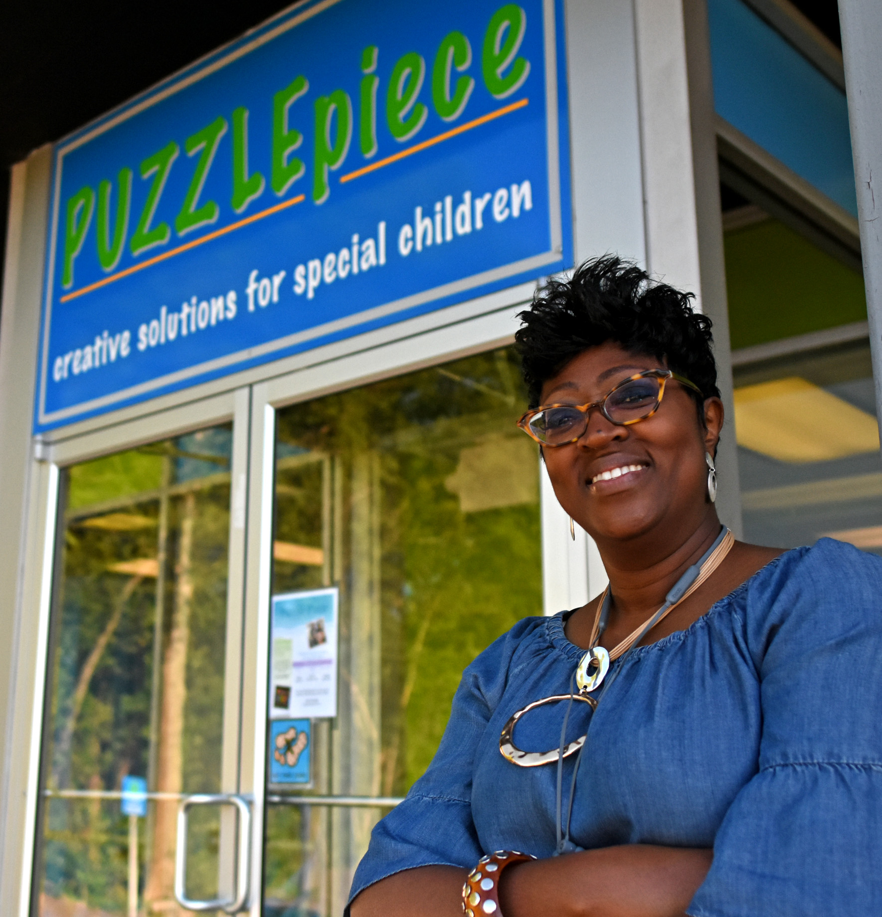 Arlicia Sims waits outside Puzzle Piece as her son Jory goes through one of his twice-a-week autism treatment sessions.