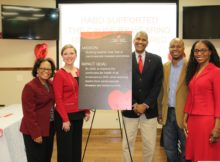 Employees of the Housing Authority of the Birmingham District recently celebrated their collaboration with the American Heart Association/American Stroke Association. From left: Cassandra Smith Mynatt, healthy living coordinator; Lauren Roden, vice president of the American Heart Association's Birmingham Division; HABD President/CEO Michael Lundy; HABD Board of Commissioners Chairman Cardell Davis and Nadia Richardson AHA/ASA multicultural initiatives director (Jacqueline French/HABD).