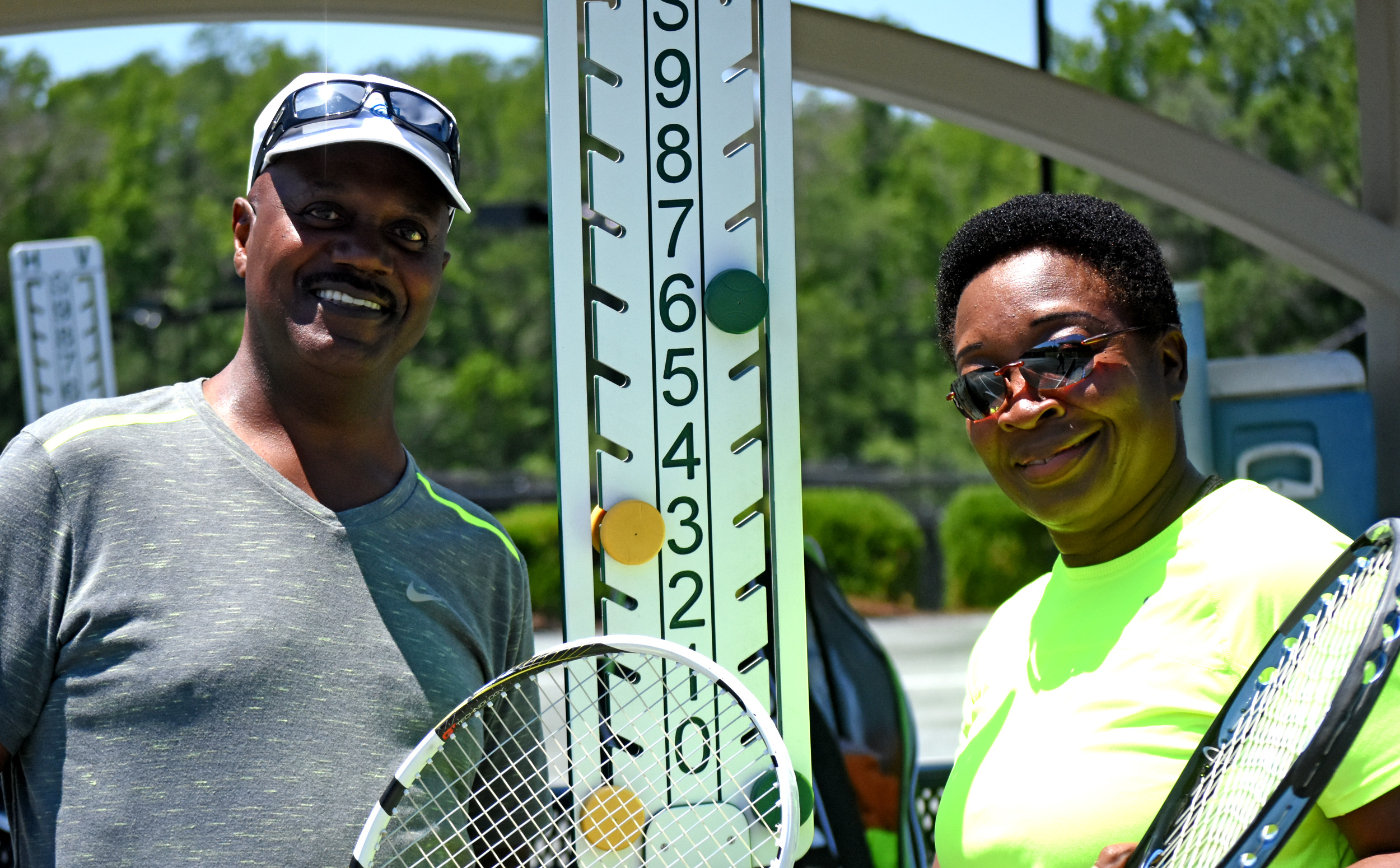 Earl and Betty Austin train at Pelham Racquet Club. The Pelham couple – he's 68 and she's 66 – will play mixed doubles in the National Senior Games in Birmingham. (Solomon Crenshaw Jr./For The Birmingham Times).