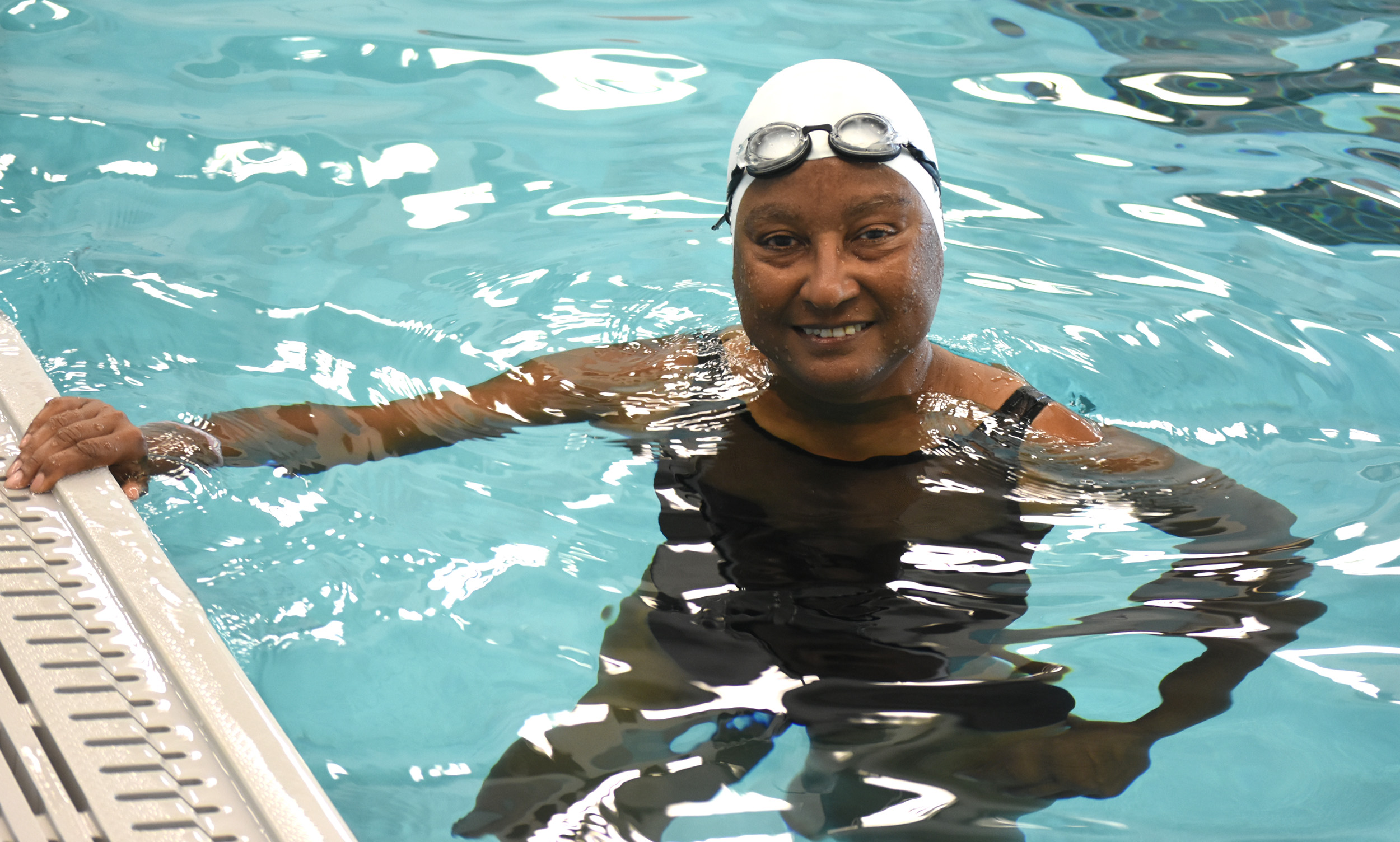 Myrna Moline gets set to practice in the pool at the Bessemer Recreation Center. The New Orleans native and South Titusville resident prepares for the National Senior Games this week in Birmingham. (Solomon Crenshaw Jr./For The Birmingham Times).