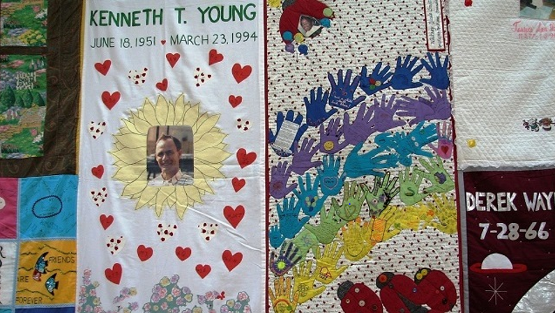 Eight panels of the AIDS Memorial Quilt, representing 64 people lost to AIDS, are on display this week at Birmingham's Woodlawn United Methodist Church. (Marti Webb Slay/Alabama NewsCenter)