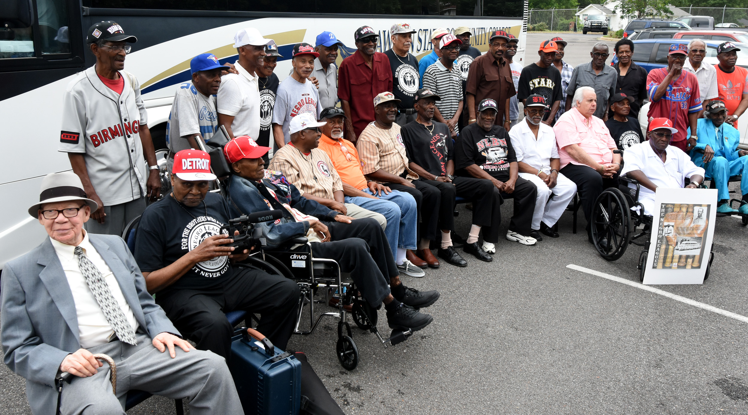 Former Negro League and Industrial League players pose for a photo on the campus of Lawson State Community College during their annual reunion. (Solomon Crenshaw Jr./For The Birmingham Times).