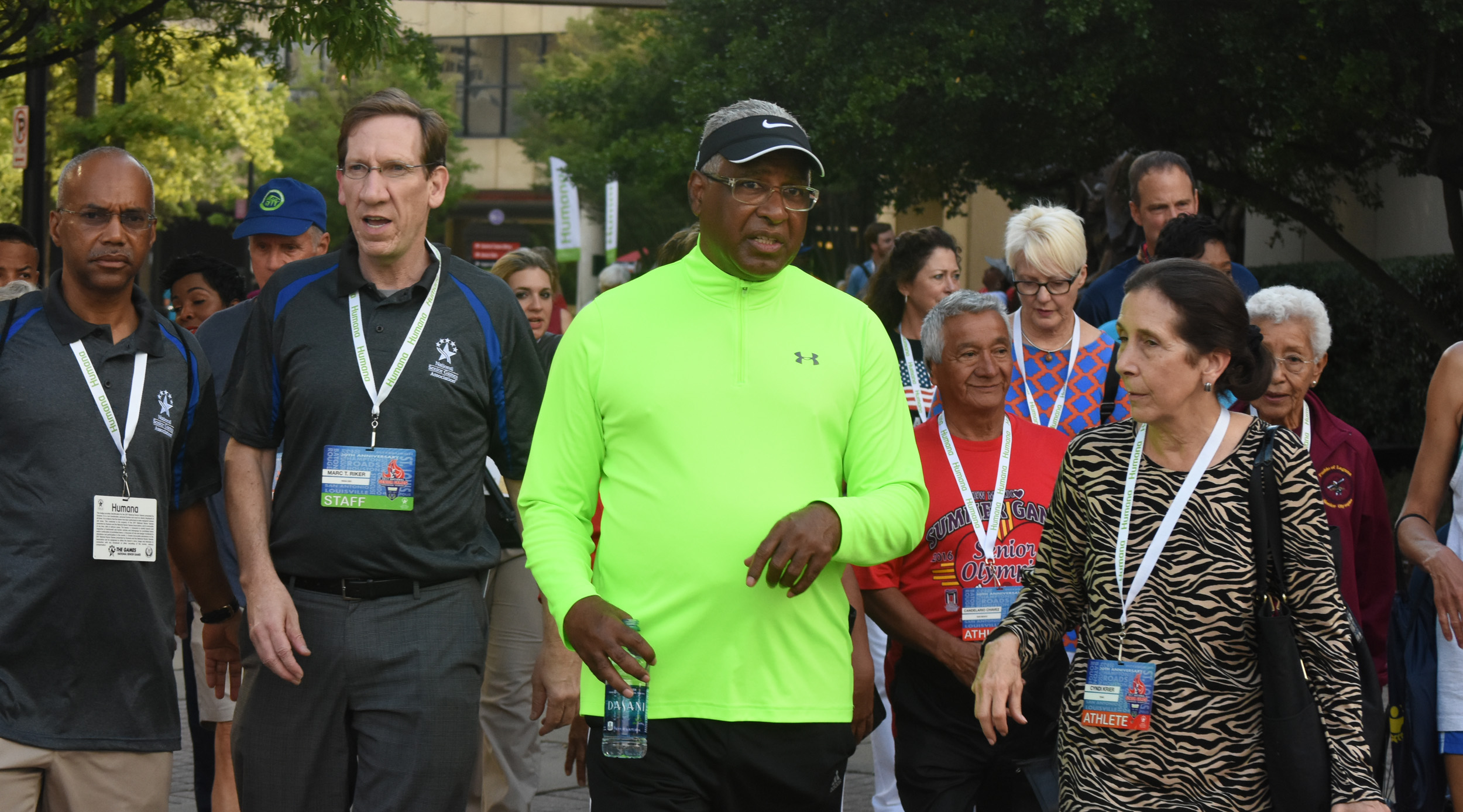 Birmingham Mayor William Bell and officials with the 2017 National Senior Games lead athletes during the Mayor's Walk at the opening ceremonies in downtown Birmingham. (Solomon Crenshaw Jr./For The Birmingham Times).